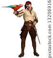 Old Pirate with Parrot 13206916