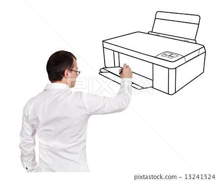 man drawing printer 13241524