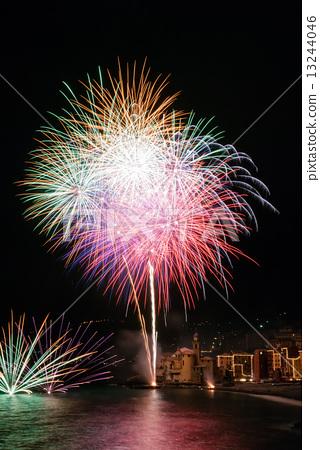 Annual fireworks in the village Camogli, Italy  in honor of the patron San Fortunato 13244046