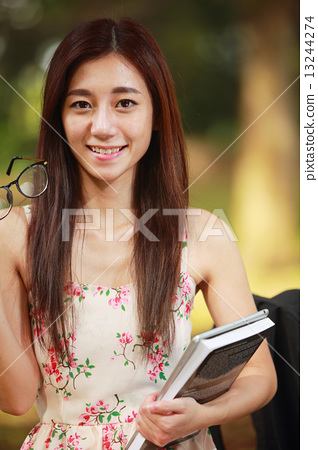Young, student, lifestyle, education, casual,  youth, pretty, outdoor, campuslife, beautiful, Asian  13244274