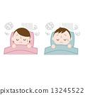 이불에서자는 남녀 불면증 잠들 수없는 13245522