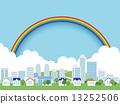 town, rainbow, city 13252506