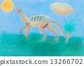dinosaur walks on green meadow 13266702