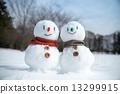 雪人 緊密擁抱 依偎在 13299915