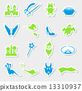 color simple fairy tales theme stickers set eps10 13310937