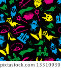 color fairy tales icons theme seamless pattern eps10 13310939