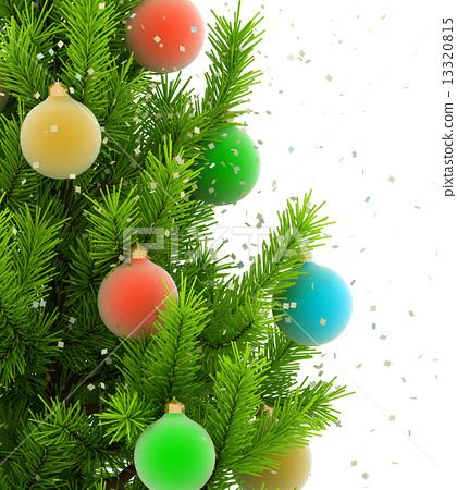 Close Up Illustration Of Christmas Tree On White Background