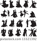 silhouettes of couples dancing waltz 13321392