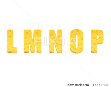 Cheese alphabet set. Letters L-P 13335706