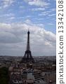 从凯旋门的顶端看的埃佛尔铁塔 13342108