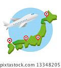 日本地圖 飛機 國內線(用於空中旅行) 13348205