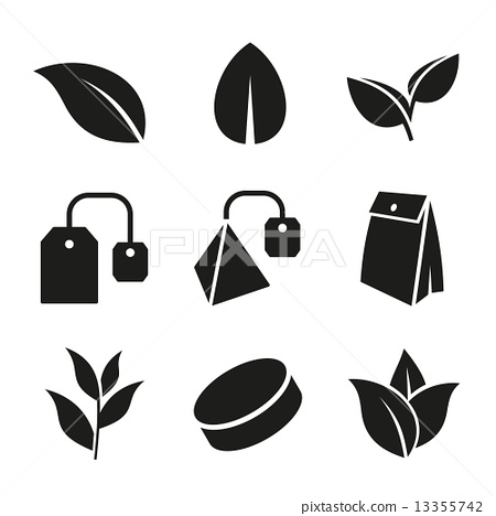 Tea Leaf and Bags Icons Set. Vector. 13355742