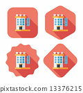 Valentine's day hotel flat icon with long shadow,eps10 13376215