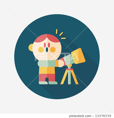 Space boy and telescope flat icon with long shadow,eps10 13376539