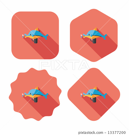 Water Gun flat icon with long shadow 13377200