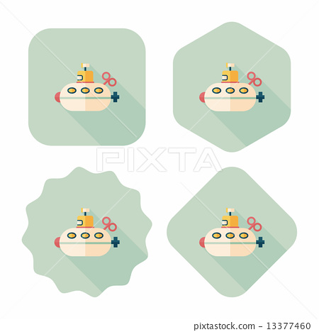 Submarine flat icon with long shadow,eps10 13377460