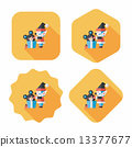 Christmas elf flat icon with long shadow,eps10 13377677