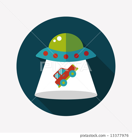 Space UFO flat icon with long shadow, eps10 13377976