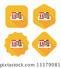 bookshelf flat icon with long shadow,eps10 13379081