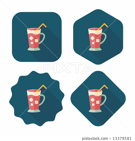 iced drink flat icon with long shadow,eps10 13379581