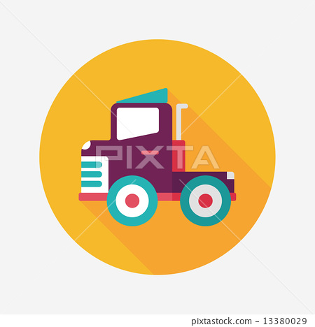 Transportation truck flat icon with long shadow,eps10 13380029