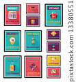 shopping poster banner flat design background set, eps10 13380551