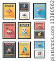 Space poster banner flat design background set, eps10 13380562