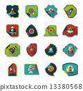 Space stickers banner flat design background set, eps10 13380568