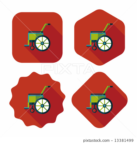 Wheelchair flat icon with long shadow 13381499