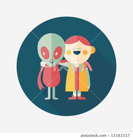 Space alien friendship flat icon with long shadow,eps10 13381537