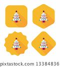 Christmas tree flat icon with long shadow, eps10 13384836