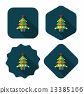 Christmas tree flat icon with long shadow, eps10 13385166
