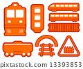 yellow rail road icons set 13393853