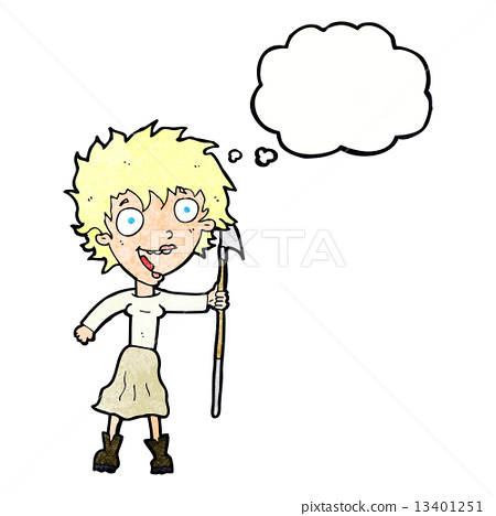 Cartoon Crazy Woman With Spear With Thought Bubble Stock Illustration 13401251 Pixta