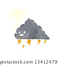 cartoon thundercloud with speech bubble 13412479