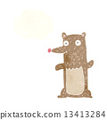 funny cartoon bear with thought bubble 13413284