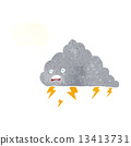 cartoon thundercloud with thought bubble 13413731