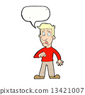 cartoon shocked man with speech bubble 13421007