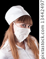 Nurse in uniform and mask on a black background. 13442497