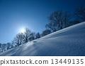 백마, 설경, 눈 경치 13449135