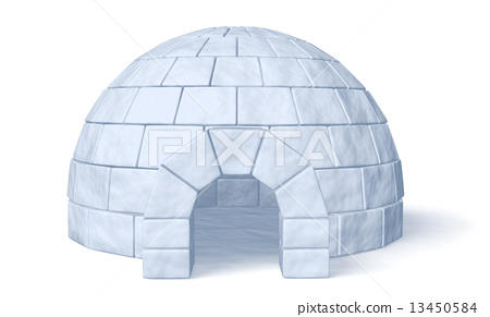 Igloo icehouse on white front view 13450584