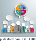 7 Businessmen Speech Bubbles Circle Puzzle PiAd 13454180