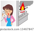 A woman who is crazy about a phone and puts out a small fire 13467847