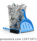 Cleaning concept.Garbage bin, dustpan or scoop and brush. 13471971