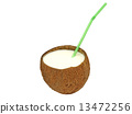coconut, cocktail, straw 13472256