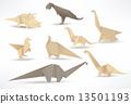 Origami dinosaurs (sepia tone) 13501193