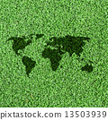 World map on Artificial Grass Field Landscape View 13503939