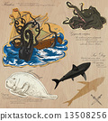 Pirates - Sea Monsters. Hand drawn and mixed media - vector illustration 13508256