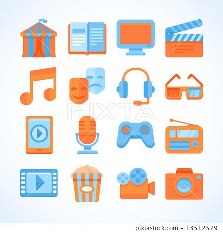 Flat Vector Icon Set Of Entertainment Symbols Stock Illustration
