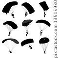 Big collection of parachutists in flight. Vector illustration 13515930